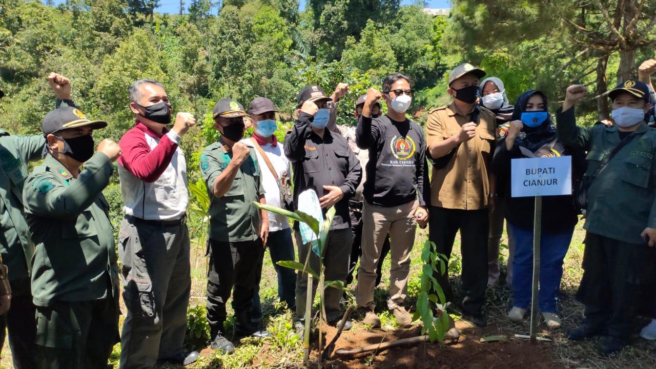 PWI-Perhutani KPH Cianjur Gelar Penanaman Pohon di Sukanagara