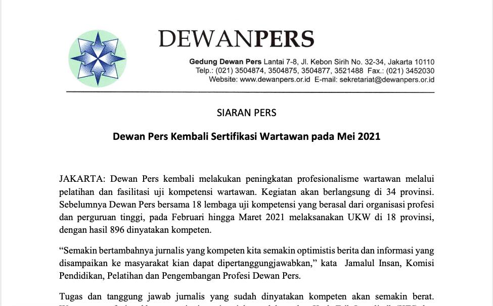 SIARAN PERS: Dewan Pers Kembali Sertifikasi Wartawan pada Mei 2021